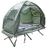 Outsunny® Feldbett 4 in 1 Camping Set mit Zelt Schlafsack Matratze faltbar, Dunkelgrün