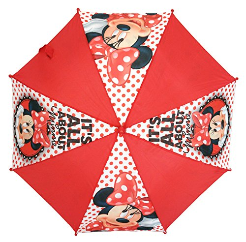 Childrens Red 'It's All About Minnie' Mouse Umbrella Kids Brolly School Rain -
