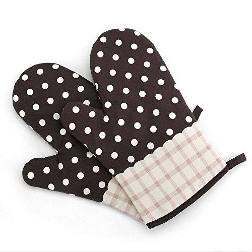 1 Paar Hitzebeständig Ofenhandschuhe Verdickte Hitzeresistente Topflappen Backhandschuhe aus Baumwolle und Polyester (2#)-Gepunktet Kaffebraun