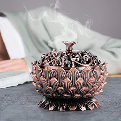 Vintage Quemador de Incienso Lotus Forma Aleación Herramienta de Decoración de Hogar Ideal para Yoga Sala de Meditación