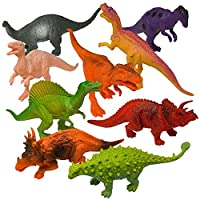 "Prextex Realistic Looking 7"" (18cm) Dinosaurs Pack of 12 Large Plastic Assorted Dinosaur Figures With Book"