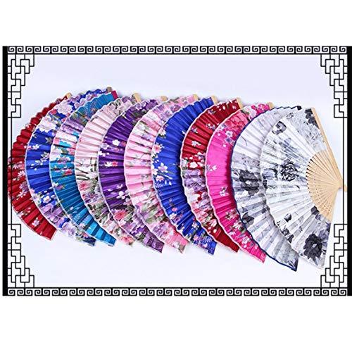 tor Kompakt Sommer Bambus Folding Handventilator Chinesische Tanzparty Tasche Geschenke Hochzeit Floral Gedruckt Fan ()