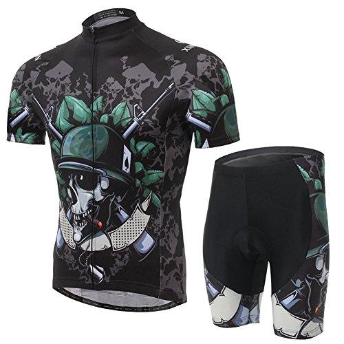 Outdoor peak neuer Sommer Rad-Trikots Männer kurzen Ärmeln Anzug Radbekleidung COOLMAX Silikonmatte Die Lieferung braucht 5 bis 6 Tage ! (Schädel, XL 173~178 cm 75 ~85kg)