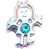 December birthstone GIRL - 8mm floating charm fits Living memory and Origami Owl style lockets