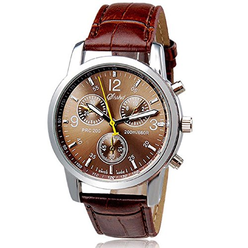 Men's Watches, Xjp Round Watch Case with Stainless Steel Dial Analog Quartz Leather Strap Wriswatches