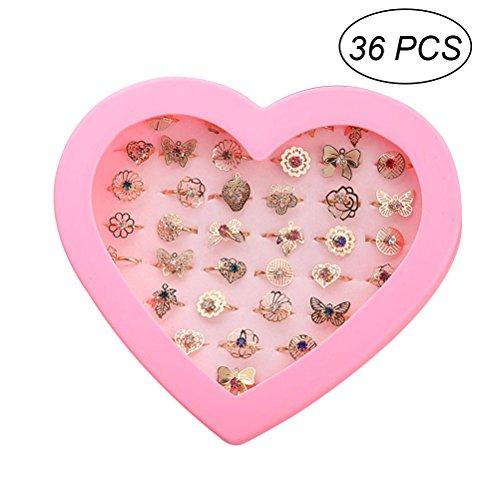ierbarer Ring-Satz für kleine Mädchen - 36pcs - Heart Shaped Box, Geburtstag, Kindertag Geschenke (Kleine Jungen In Anzügen)