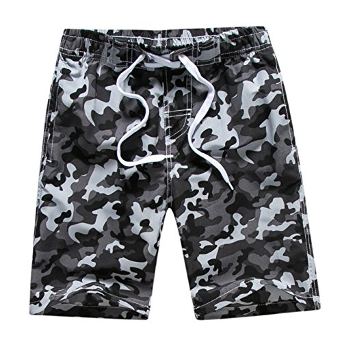 Echinodon Jungen Badehose Badeshorts Camouflage Sweatshorts Urlaub Strand-Shorts Grau