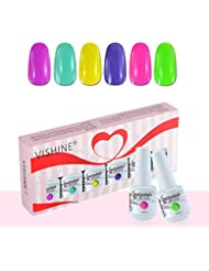 Vishine Vernis à Ongles Gel Soak Off Semi Permanente Gelpolish Lot 6 x 8ml Cadeau Kit C051