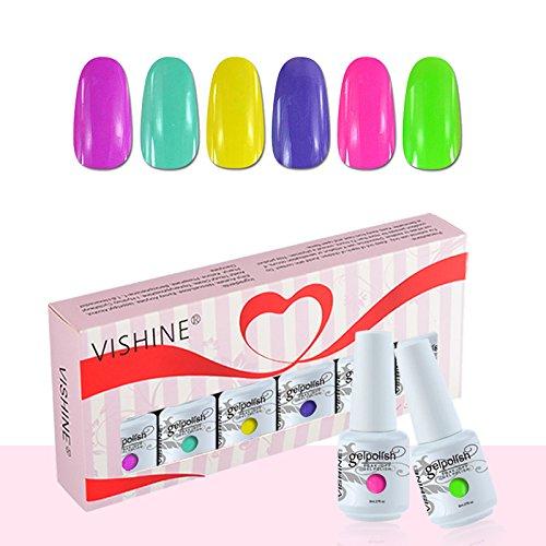 Vishine Coffret Vernis à Ongles Gel Soak Off Semi Permanente Gelpolish Lot 6 x 8ml Cadeau Kit C051