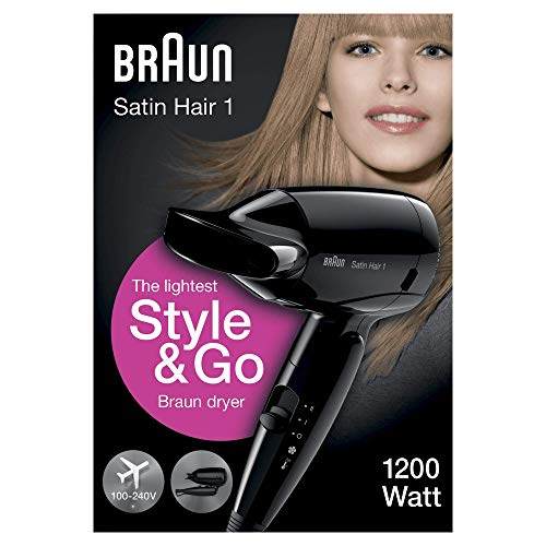 Braun Satin Hair 1 HD130 Style & Go - Secador de pelo viaje, multivoltaje, 1200 W, color negro