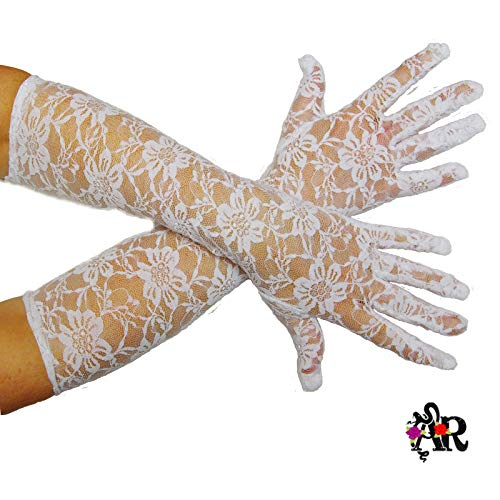 Skywalk Women's Long Ruffled Stretch Lace Gloves Opear and Long Length Party...
