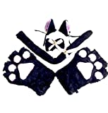 Tomwell Costume de Noël Ensemble de Costume Cosplay Chat Gants Pattes Barrette A Oreilles Queue Et Noeud Papillon Halloween Noir One Size