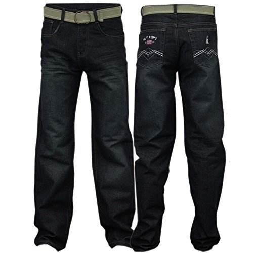 NEW FULL LENGTH FIVE POCKET BOYS JEANS REGULAR FIT CLASSIC STRETCHY DENIM WITH BELT TROUSER (13-14 Years, Black)