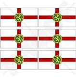 ALDERNEY Flaggen Kanalinseln UK Aurigny, britisch 40mm Mobile, Handy Vinyl Mini Aufkleber, Abziehbilder x6 Stickers