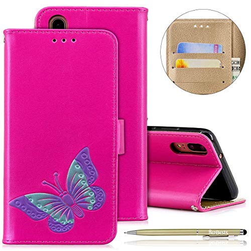 Herbests Handyhülle für Huawei P20, Ultra Dünn Bunte Brieftasche Handyhülle Hülle Ledertasche für Huawei P20, Mädchen Elegant Schmetterling Drucken Schutzhülle Klapphülle Leder Handytasche L