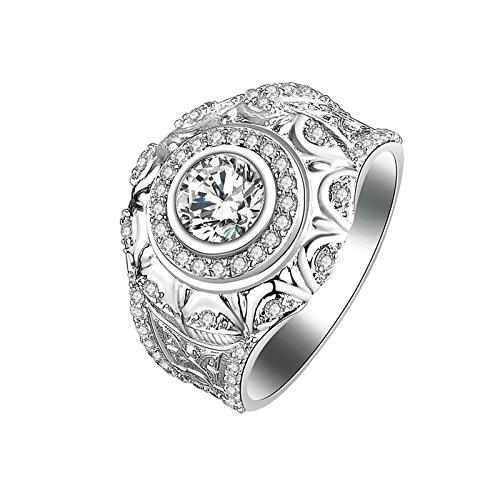 SonMo Ringe 925 Sterling Silber Solitär Ring Silber Weiß Diamant Ringe Zirkonia Verlobungsring Paarringe Eheringe Damenringe Größe 60 (19.1)
