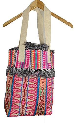 Niedlicher New farbenfrohen Fringed Hand Made Woven Top Griff Hand-Tasche Multi (Hand-woven-handtasche)