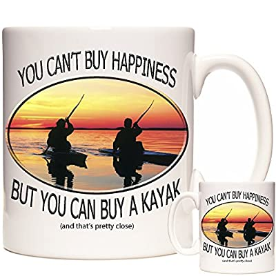 KAYAK MUG, You Can't Buy Happiness But You Can Buy A Kayak. The perfect mug for anyone who loves Kayaking. Matching Coaster and Keyring Available, Can Be Personalised. Kayaking Gift from KAZMUGS