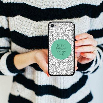 Apple iPhone X Silikon Hülle Case Schutzhülle Verrückt Crazy Sprüche Hard Case schwarz