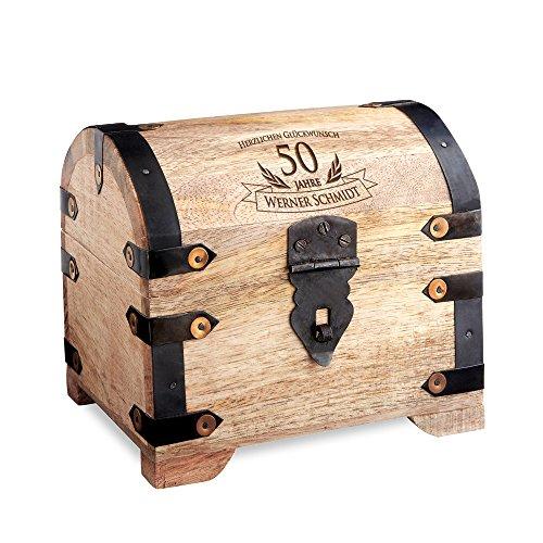 Geld-Schatztruhe zum 50. Geburtstag mit Gravur - Hell – Personalisiert mit Namen - Schmuckkästchen - Spardose - Aufbewahrungsbox aus Holz - Geburtstagsgeschenk-Idee - 14 cm x 11 cm x 13 cm (Schatz-truhe-aufbewahrungsbox)