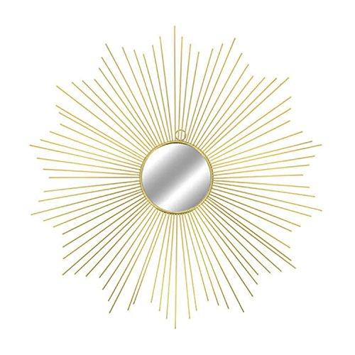 Espejo de Pared Redondo 65 cm de diámetro, Metal, diseño de Sol, Color Dorado