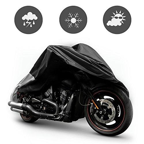 SunJas Cubierta Impermeable para Motos XXL Fundas para Motocicleta 190T Maletas de Lonas Plata Anti UV Protector contra Lluvia y Polvo para Motos Protección de Motocicleta--Color Negro y Plata(265x105x125 cm)