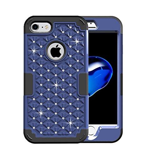 iPhone Case Cover Pour iPhone 7 3 en 1 PC Encrusted diamant + combinaison de silicone ( SKU : Ip7g3200db ) Ip7g3200db