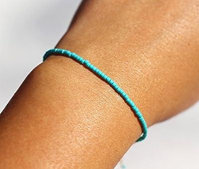 Bracelet fin minimaliste turquoise - Bracelet pierres de turquoise naturelle - Bracelet argent massif 925 - turquoise et argent - turquoise
