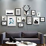 Kimxpq Photo Murale Ensemble décoration 14 pièces Multi Photo Cadres pin Bois, Photo Wall Set idée Cadeau...