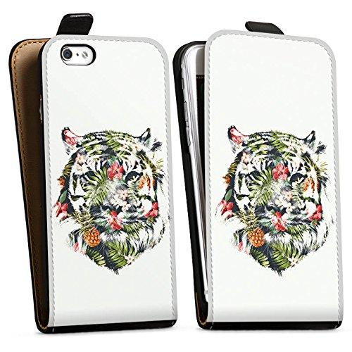 Apple iPhone X Silikon Hülle Case Schutzhülle Tiger Tropisch dschungel Downflip Tasche schwarz