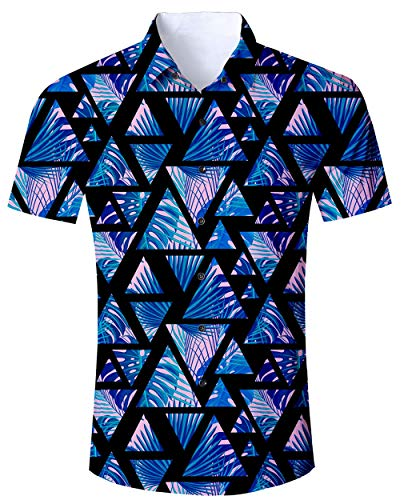 Hawaii Hochzeit Shirts (Goodstoworld Hawaii Hemd Herren Bunte Hemden Hochzeit Männer Slim Fit Dunkelblau Kurzarm Shirt 3D Bedruckte Herrenhemden)