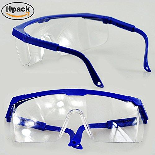 10Stück Sicherheit Brille & Schutz Brillen, toohxl verstellbar blau Frames für Kinder Erwachsene Eye Schutz mit Klar dicker PC Objektive und mit Gummi Nase und Ohr Grips, für professionelle Industrie, Sport & Outdoor Aktivitäten Spiel