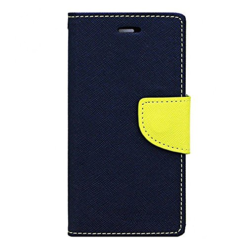 Avzax Stylish Luxury Magnetic Lock Diary Wallet Style Flip Cover Case for Karbonn Titanium S5 - Blue