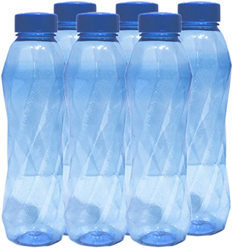 Princeware Pet Fridge Silky Plastic Bottle, Set of 6, 900ml, Dark Blue