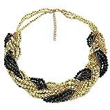 Sarah Kern Damen-Collier Modeschmuck Kristalle schwarz vergoldet