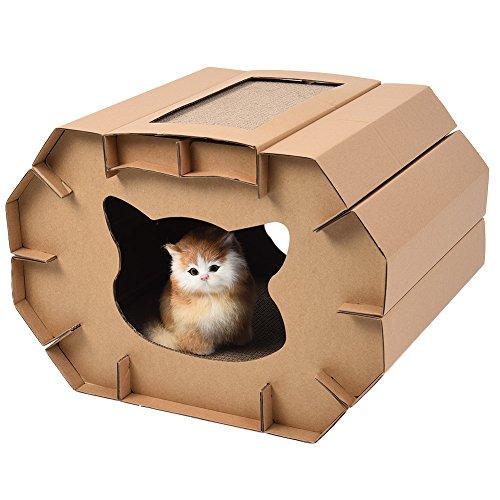 Petacc Katzenhaus aus Wellpappe Kratzpappe für Katzen Kratzer Haus Muschi Kratzer Lounge Langlebiges Katzenspielhaus mit Kratzer Board für Innenbereich