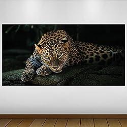 LagunaProject Extra Grande Leopardo Negro Vinilo Fauna Póster - Mural Decoración - Etiqueta de la Pared -140cm x 70cm