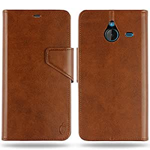 Cool Mango Business Flip Cover for Lumia 640 XL - 100% Premium Faux Leather Flip Case for Microsoft / Nokia Lumia 640 XL with 360 Degree Stitching, Magnetic Lock, Card & Currency Wallet – Limited Time Offer Pricing (Cocoa Brown)