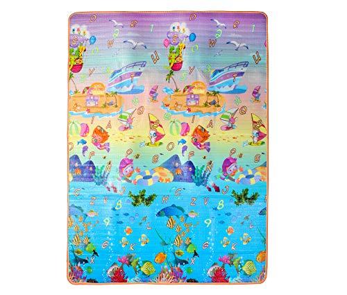 MALATEC Spielteppich Isoliert Kindermatte Tragbar Bunt Tiere Fische 180x150x1cm 7872, Muster:Fische -