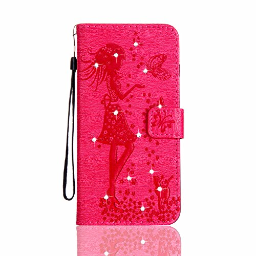 iPhone 5s Hülle Leder, LuckyW Einfarbig Crystal Kristall Mädchen Muster Pattern PU Leder Hülle für Apple iPhone 5 5S SE TPU Soft Rückseite Abdeckung Ledertasche Brieftasche Flip Wallet Case Kuntsleder Rot