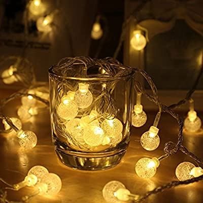 EVELTEK 16.4feet/5M Battery Operated 50 LED String Lights, Crystal Globe Ball Light for Homes, Garden, Bedroom, Wedding, Party, Christmas Decorations Indoor Lighting, No Outlet Needed.-Warm White