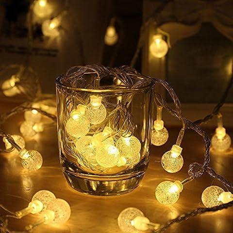 Guirnaldas de luces, EVELTEK 16.4feet/5M Bateria Operado 50 LED Luces de Cadena,Globo Bolas de Cristal Luz para decoración de interiores partido en casa,Dormitorio,Navidad,Boda Fiesta (Blanco