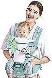 GBlife Porte Bébé Ventraux Ergonomique avec Siège à Hanche Poches en Coton Léger et Respirant 4 en 1 Multiposition pour Nouveau-né Bébé 0-36 mois 3.5-20kg (Vert)