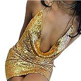 Elecenty Damen Pailletten-Kleid Unterkleid Kendall Kettenhalsband Partykleid Rückenfrei Sommerkleid Strandkleid Ärmellos Maxikleid Abendkleider Mädchen Kleider Frauen Kleid Kleidung (S, Gold)