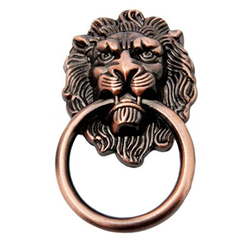 Lion Ring-pull (Floralby Lion Head Vintage Tür Schublade Pull Ring Knöpfe Griffe Schränke Pull Griffe One Size Messing Antik-Optik)