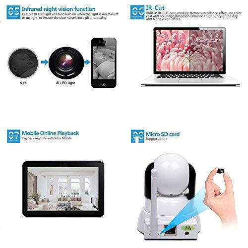 IP Kamera, Wireless WiFi Kamera 720P HD Überwachungskamera Hund IP Cam mit 355°/120°Schwenkbar, Bewegungsmelder, Nachtsicht, Fernbedienung - 5