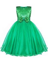 YiZYiF Vestido De Princesa con Lentejuelas Brillante Lazo sin Mangas Vestido Largo Boda Cumpleaños Fiesta para