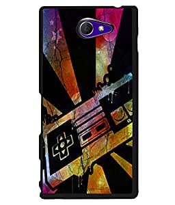 PRINTVISA Colourful Ray Premium Metallic Insert Back Case Cover for Sony Xperia M2 - D6012