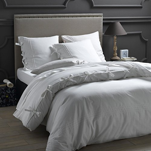 Friends at Home Bettwäsche-Set für King-Size-Betten, 100% Baumwolle, weich, hypoallergen, bequem, Fuzzy Bettwäsche, Hotel-Collection, Schleife, BOE-Schleife, Weiß -