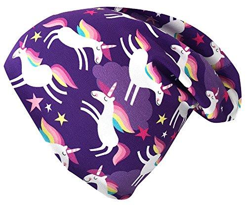 Wollhuhn ÖKO Long-Beanie, Wende-Mütze, ganzjährig, Happy Unicorn violett, innen Uni grau, für Mädchen (aus Öko-Stoffen, Bio), 20180208, Größe M: KU 52/54 (ca 3-7 Jahre)